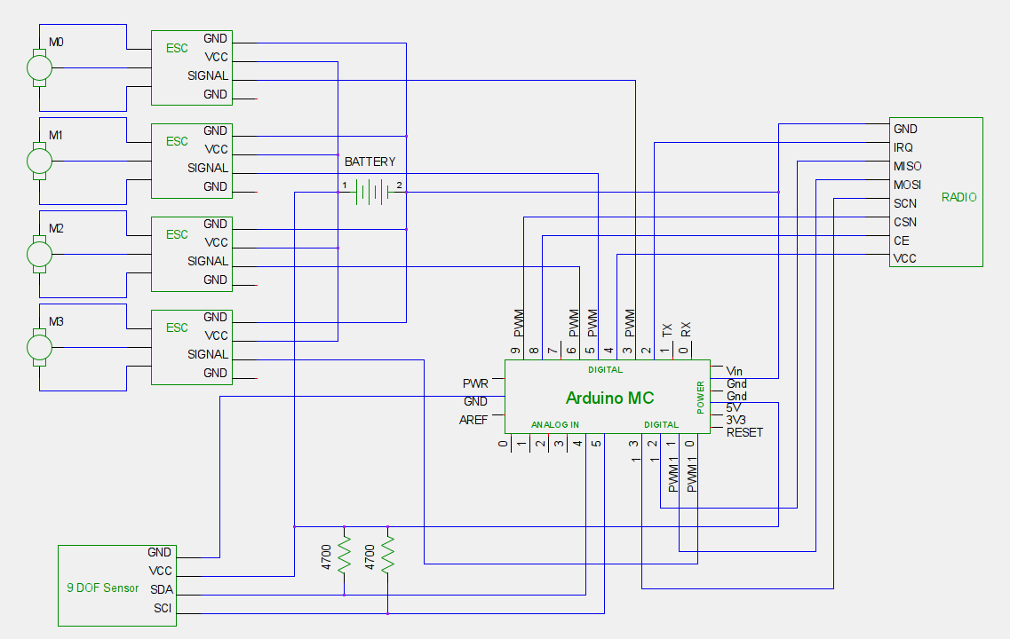 Quadcopter wiring schematic.